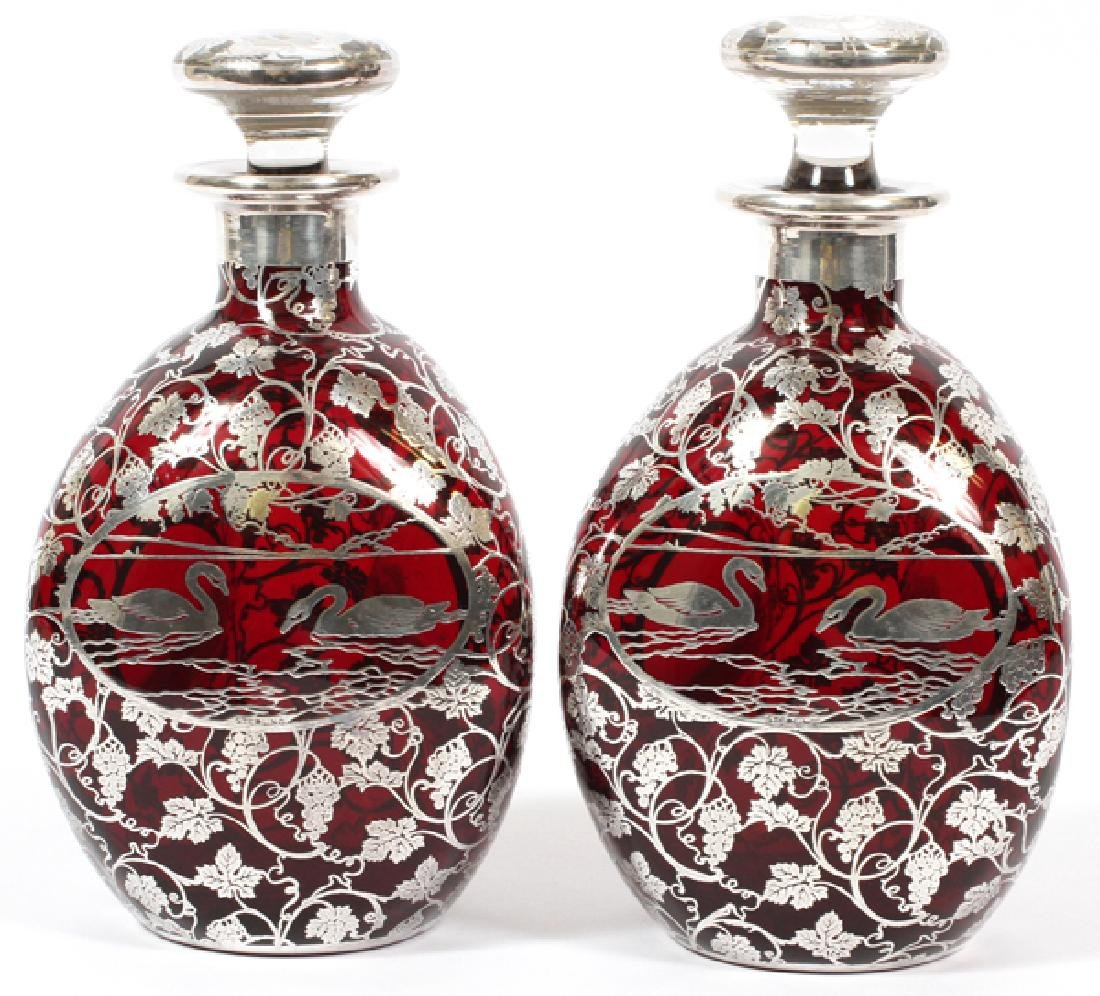 AMERICAN RUBY GLASS & STERLING OVERLAY DECANTERS