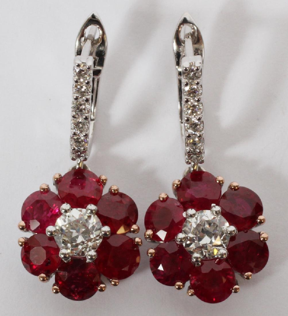 5.35CT RUBY AND DIAMOND DANGLE EARRINGS PAIR