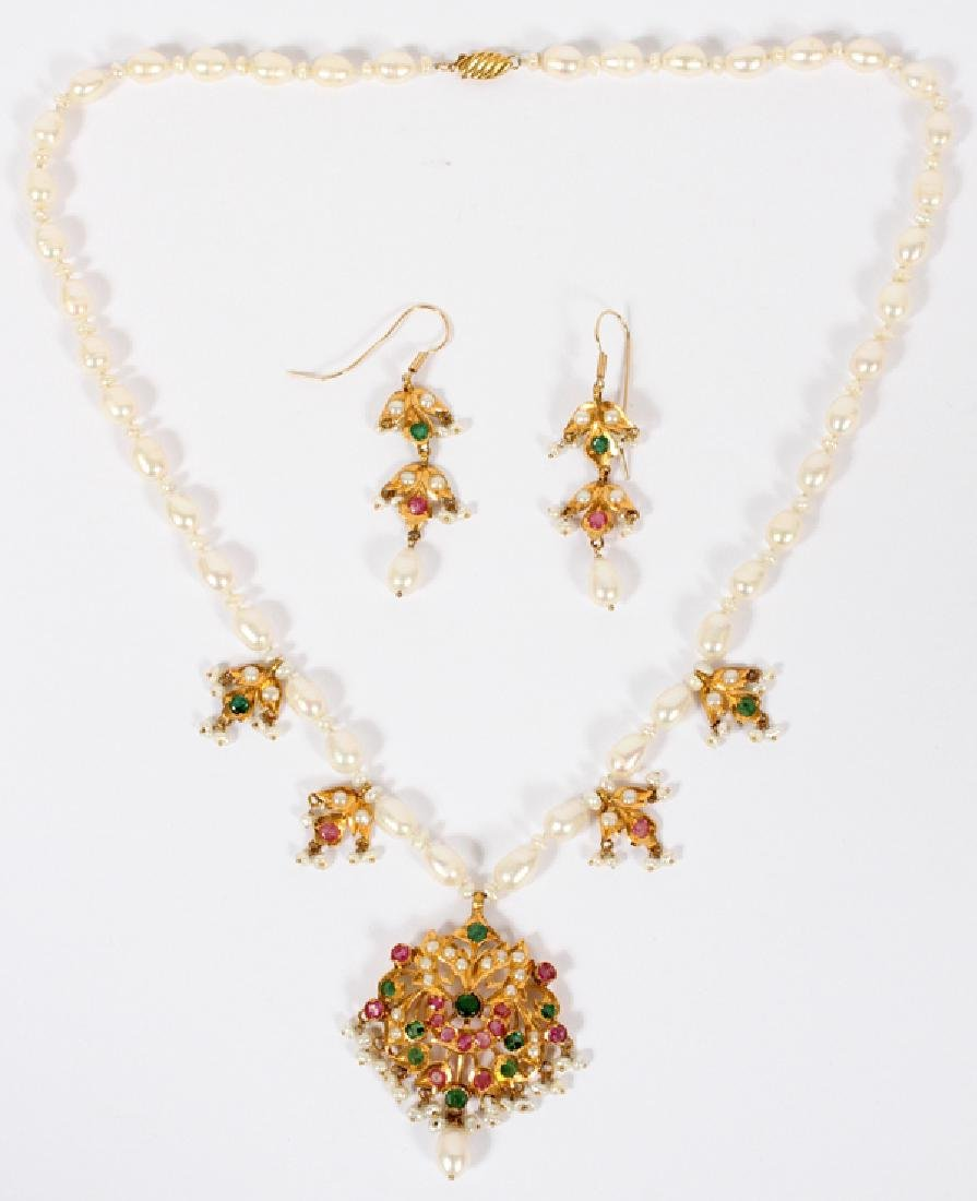 GOLD EMERALD RUBY & PEARL NECKLACE & EARRINGS