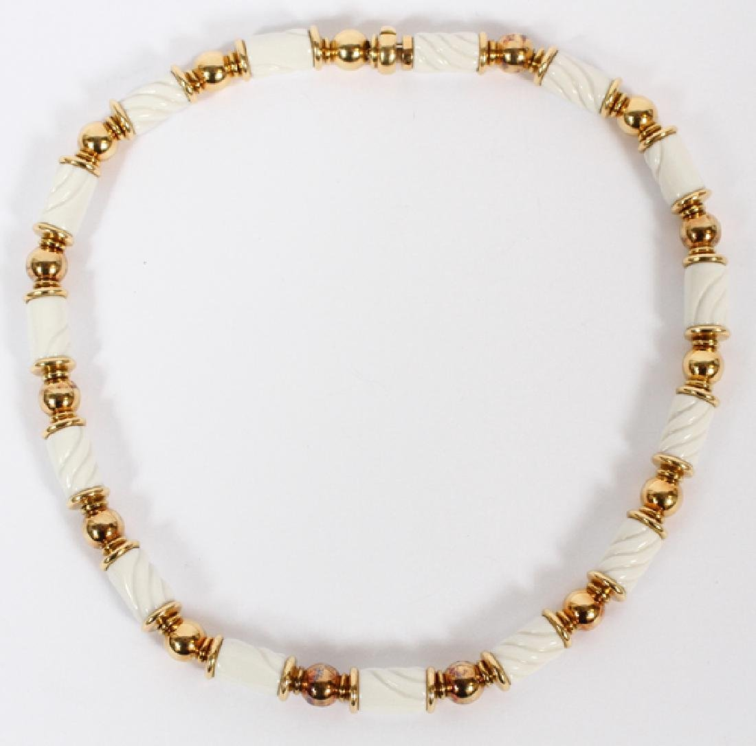 BULGARI 'CHANDRA' 18KT GOLD & PORCELAIN NECKLACE
