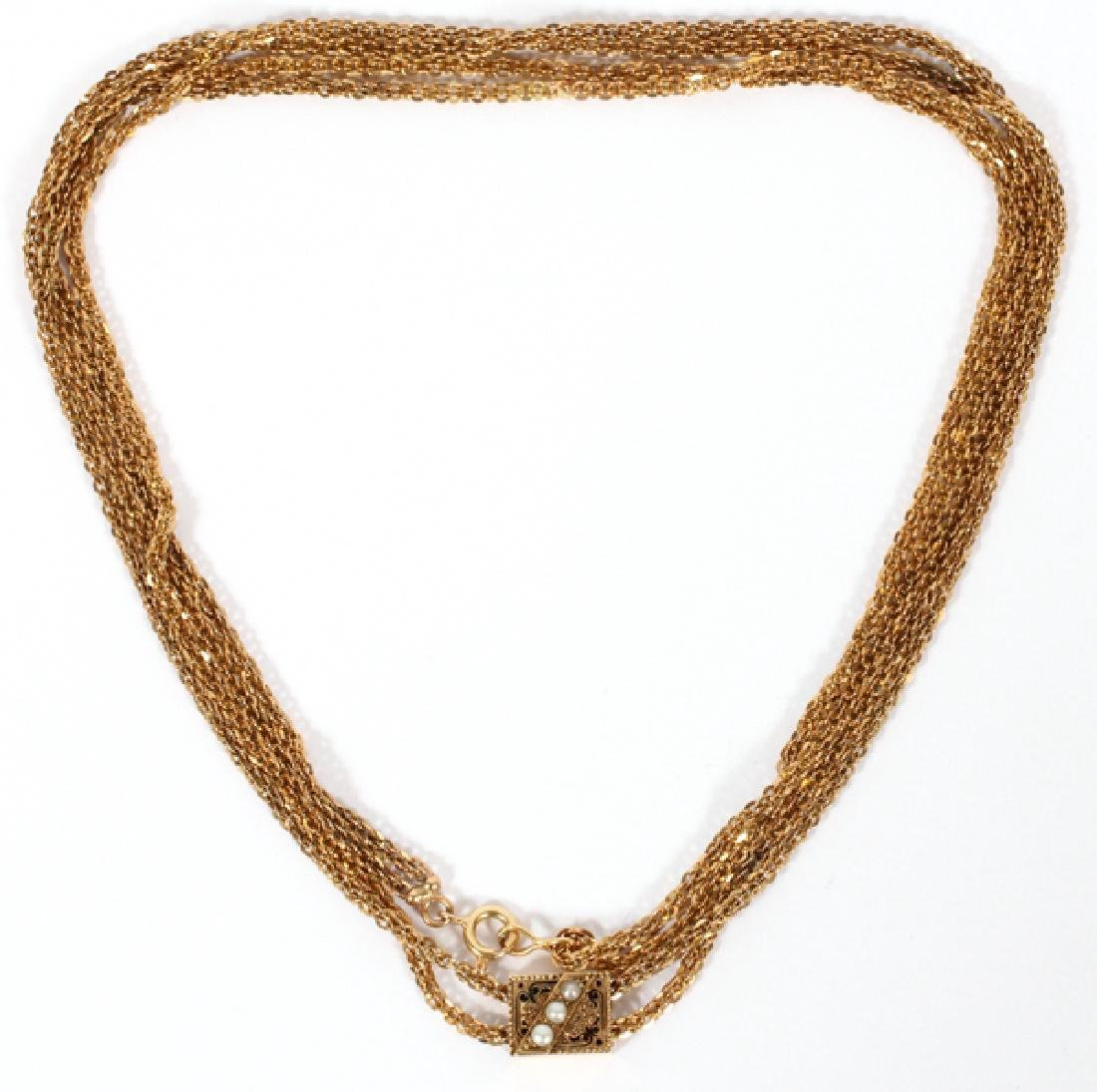 DOUBLE STRAND 14KT YELLOW GOLD SLIDE NECKLACE