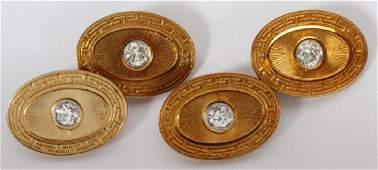 14K YELLOW GOLD  DIAMOND CUFFLINKS PAIR