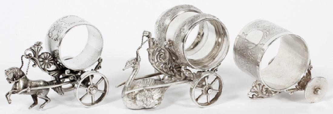 VICTORIAN SILVER PLATE NAPKIN RING HOLDERS 3 PIECES