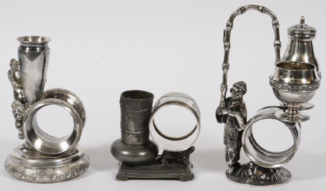 VICTORIAN SILVER PLATE NAPKIN RING & BUD VASES