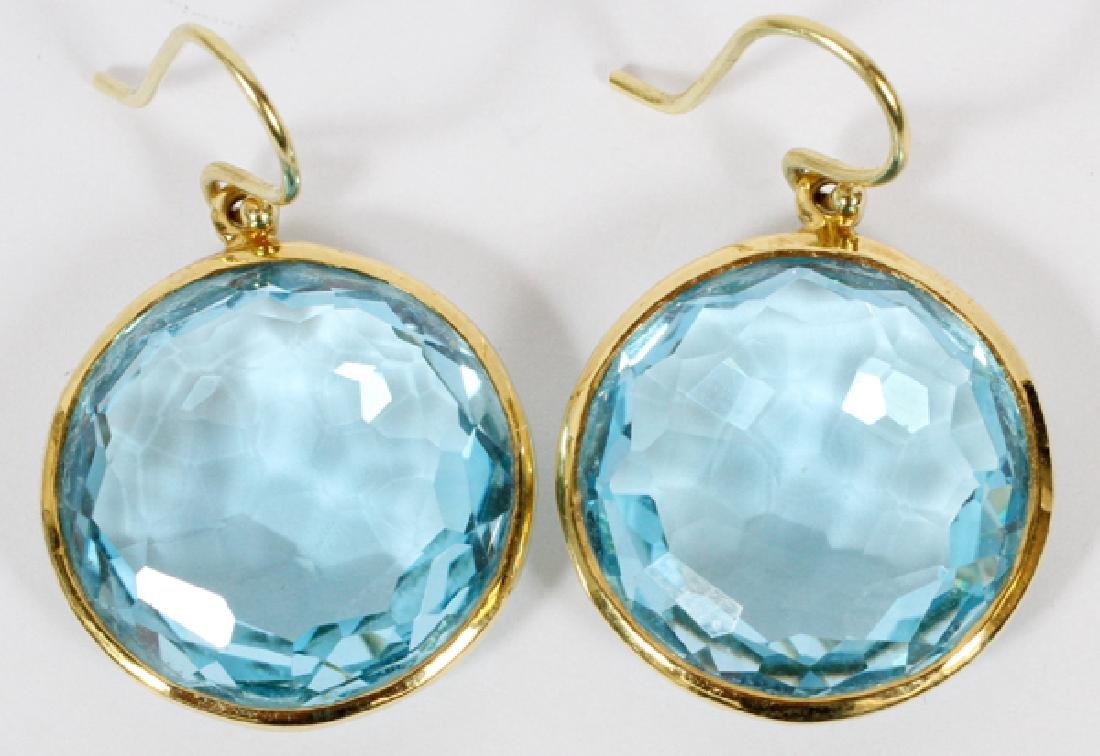 IPPOLITA 18KT ROUND BLUE TOPAZ EARRINGS PAIR