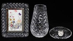 WATERFORD CRYSTAL CLOCK PICTURE FRAME AND VASE