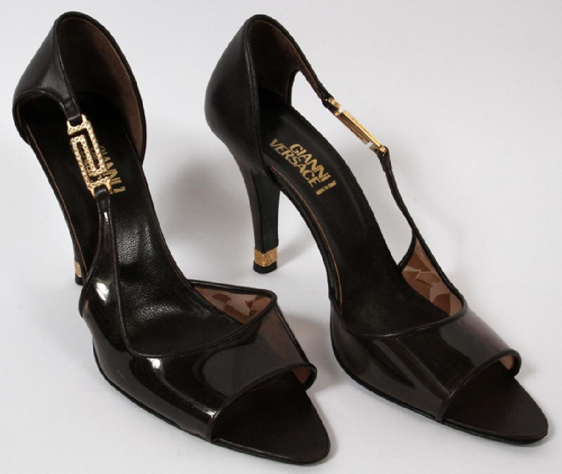 GIANNI VERSACE BROWN LEATHER HIGH HEELS SIZE 38