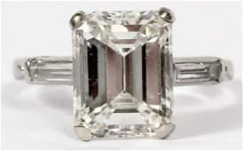GIA 4.47 CT EMERALD CUT DIAMOND SET PLATINUM RING