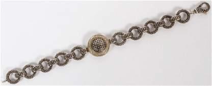 EFFY LADY'S DIAMOND GOLD & STERLING SILVER BRACELET