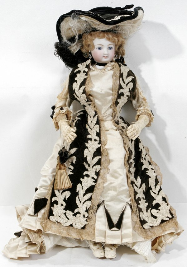120008: JUMEAU FRENCH BISQUE HEAD DOLL, 19TH C., H20""