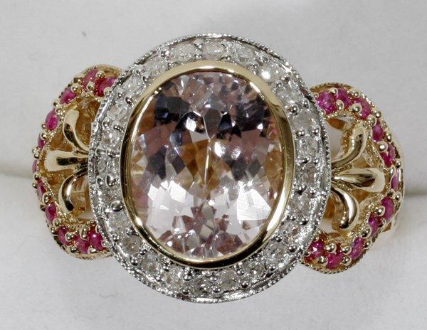 120019: 14K GOLD, PINK KUNZITE, DIAMOND & RUBY RING