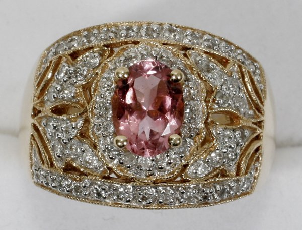 120020: 14K GOLD, TOURMALINE & DIAMOND RING