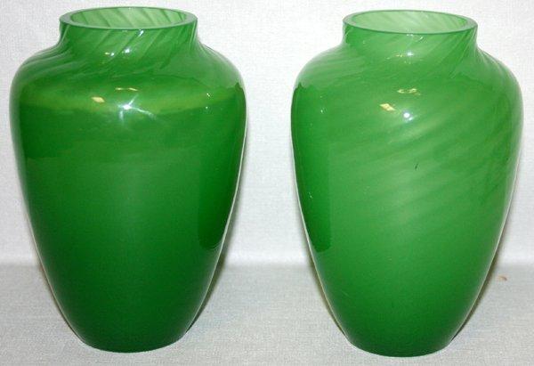 120022: STEUBEN GREEN JADE GLASS VASES, C.1900, PAIR
