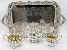 120054: ENGLISH SHEFFIELD SILVER PLATE TEA SET W/TRAY