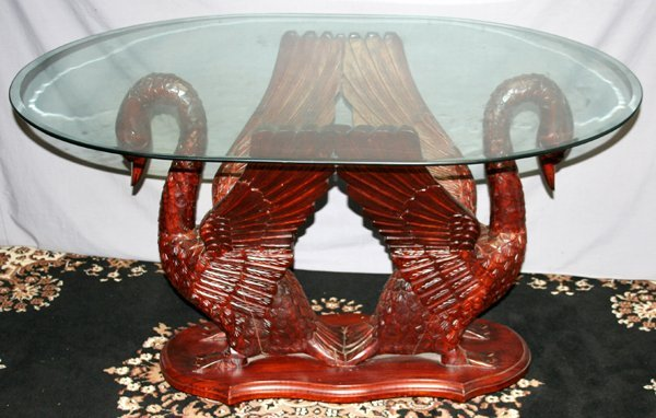 120149: BEVELED GLASS TOP TABLE W/ SWAN STYLE BASE