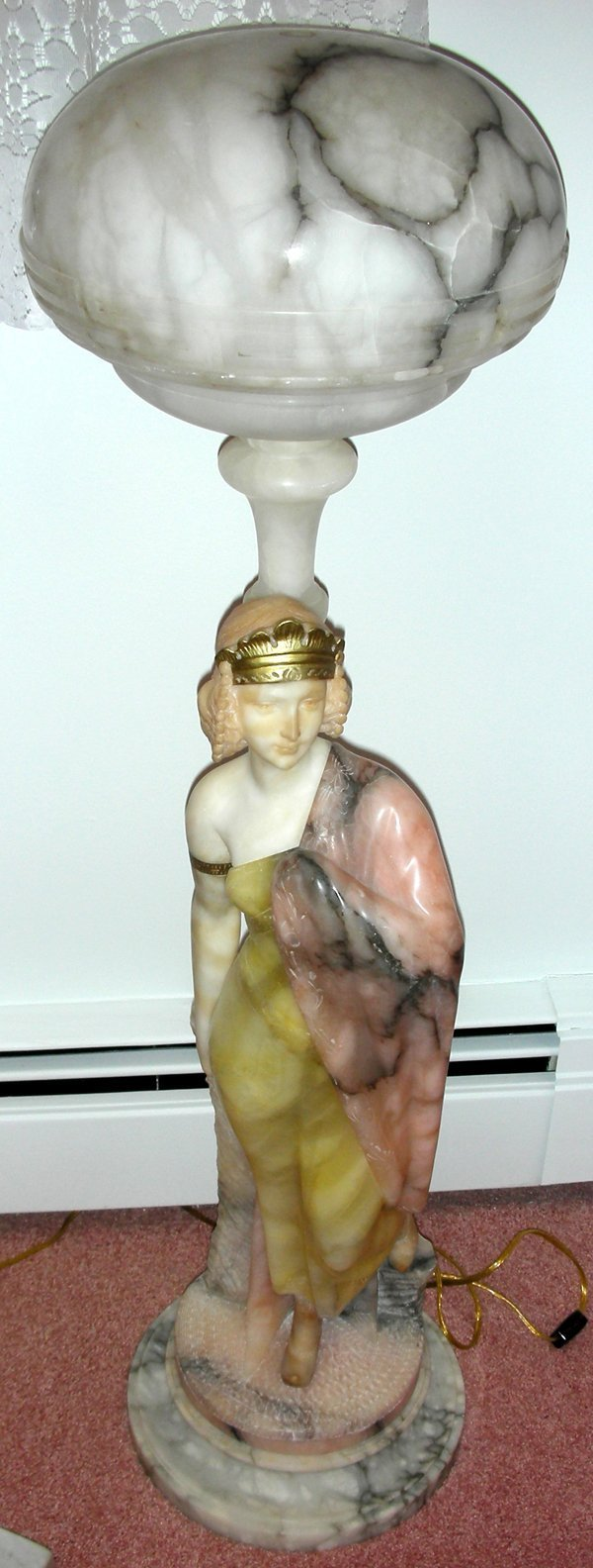 121003: ITALIAN CARVED ALABASTER FEMALE FIGURAL LAMP