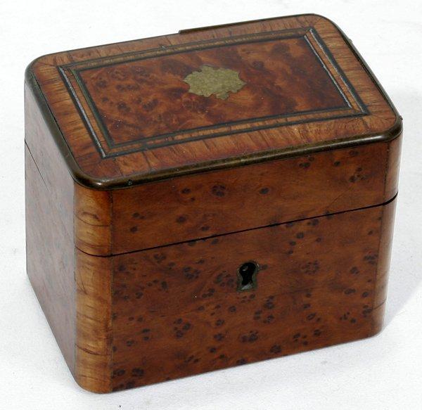 """121017: ENGLISH BURL WALNUT BOX, H2.8"""" L3.5"""" D2.4"""""""