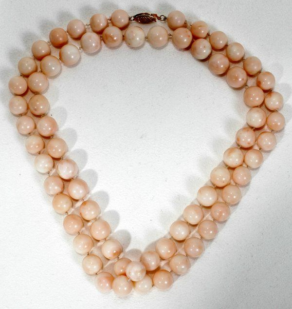 """121108: ANGEL SKIN CORAL BEAD NECKLACE, L26"""""""