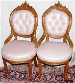 121186: VICTORIAN CARVED WALNUT PARLOR CHAIRS, 19TH C.