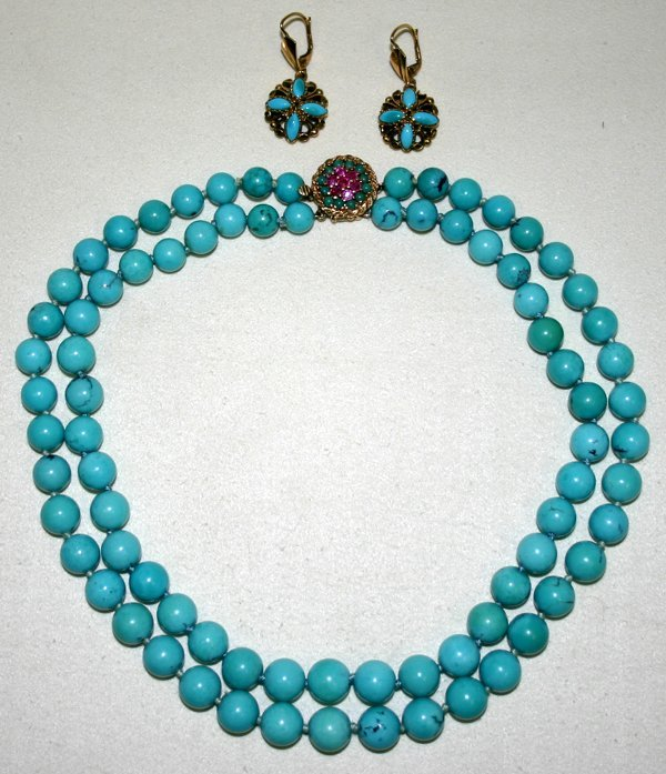 121396: TURQUOISE BEAD NECKLACE W/ PAIR OF EARRINGS