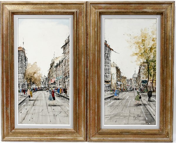 121451: BOULLEVIE FRENCH OILS ON CANVAS, STREET SCENES