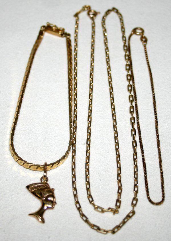 121570: 14K GOLD CHAIN BRACELETS & CHAIN LINK NECKLACE