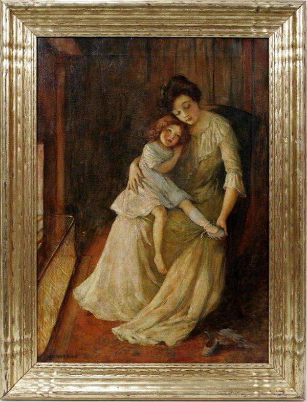 122001: WARREN DAVIS OIL ON CANVAS, MOTHER & DAUGHTER