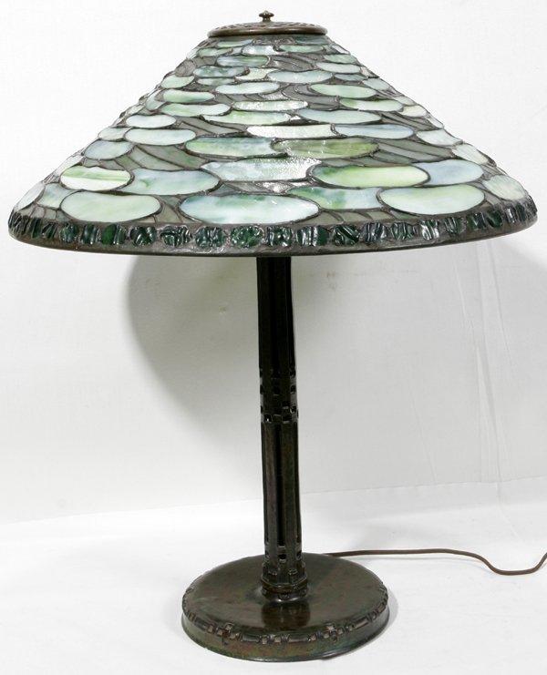 122019: TIFFANY LEADED GLASS BRONZE BASE LILY PAD LAMP