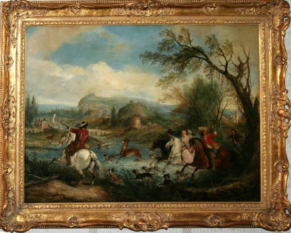 122023: HENRY ANDREWS OIL ON CANVAS, HUNTING PARTY