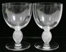 122267: LALIQUE FRENCH CRYSTAL WINE GOBLETS, FIVE