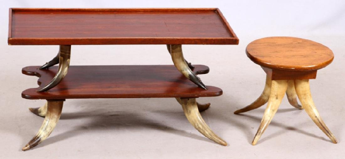 TEXAS LONGHORN COFFEE TABLE AND FOOT STOOL C1900