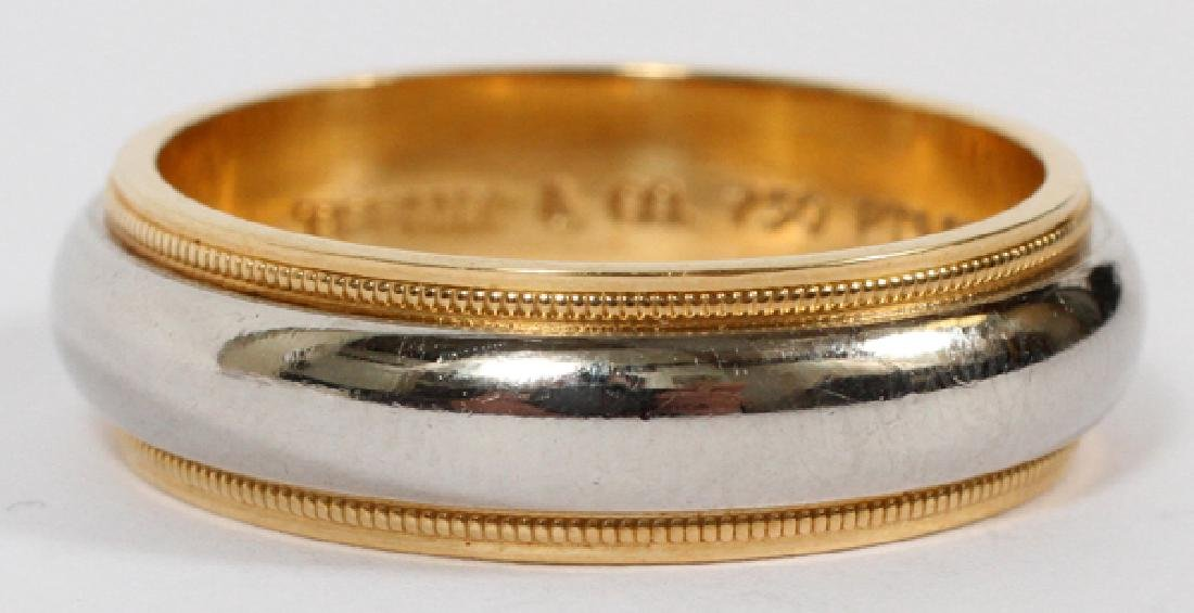 TIFFANY & CO. 18KT BEADED GOLD & PLATINUM BAND
