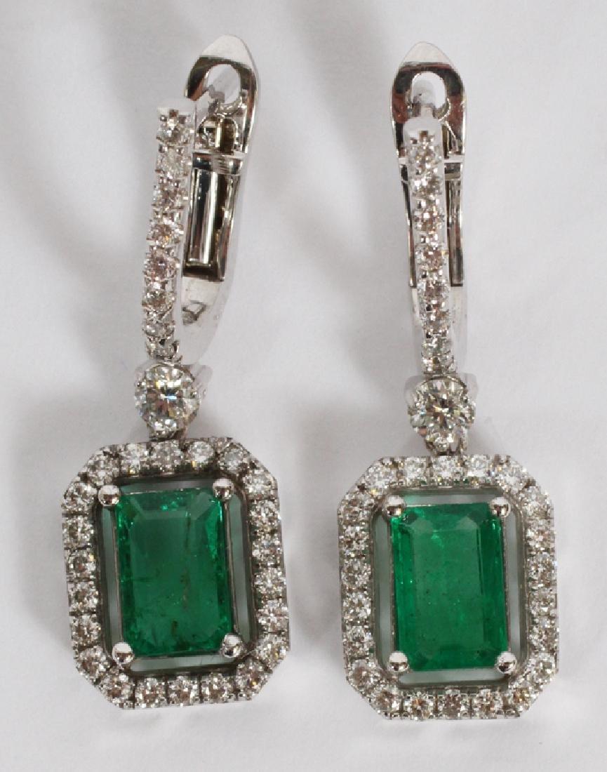 1.46CT EMERALD AND DIAMOND DANGLE EARRINGS PAIR