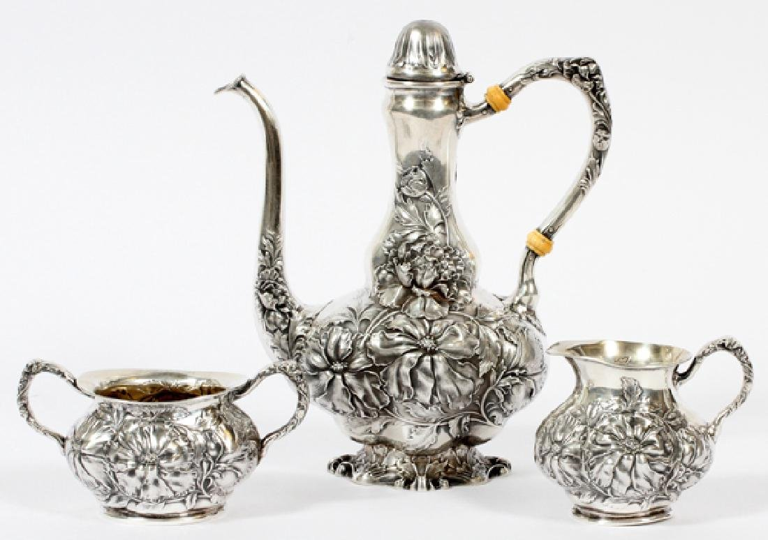 UNGER BROTHERS STERLING COFFEE SET C.1900 3 PIECES