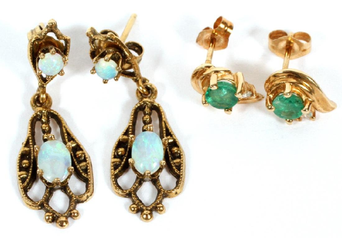 14 YELLOW GOLD EMERALD AND OPAL EARRINGS 2 PAIRS