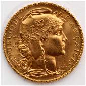 FRANCE GALLIC ROOSTER GOLD COIN 20 FRANCS 1910