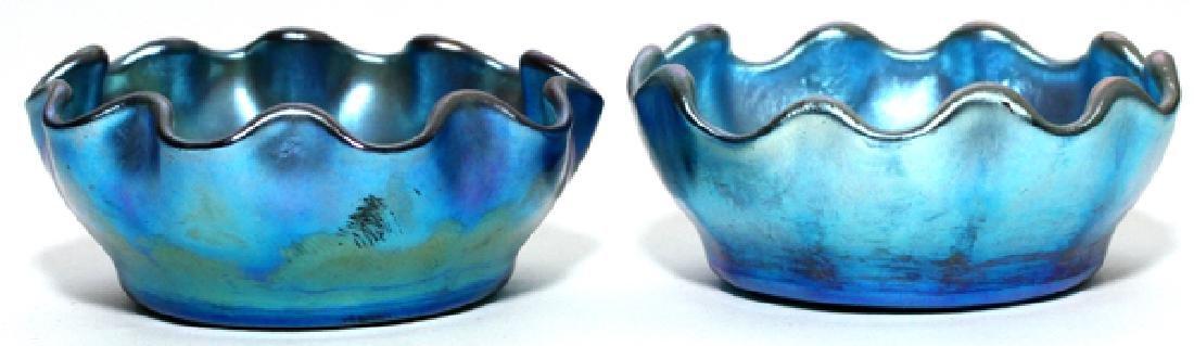 LOUIS COMFORT TIFFANY BLUE FAVRILE GLASS SALT DIPS
