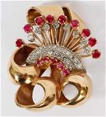 VINTAGE GOLD BROOCH W/ RUBIES AND DIAMONDS