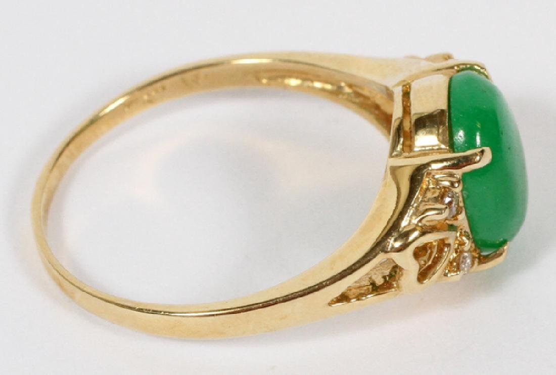 18KT YELLOW GOLD & JADE RING - 2