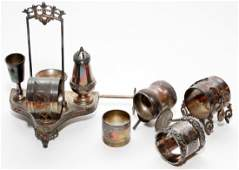 VICTORIAN SILVER PLATE NAPKIN RINGS & TROLLEY
