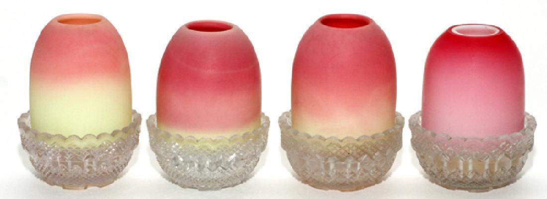 VICTORIAN BURMESE &SATIN GLASS TWO-PART FAIRY LAMPS