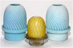 VICTORIAN GLASS FAIRY LAMPS LATE 19TH/20TH C. 3 PCS