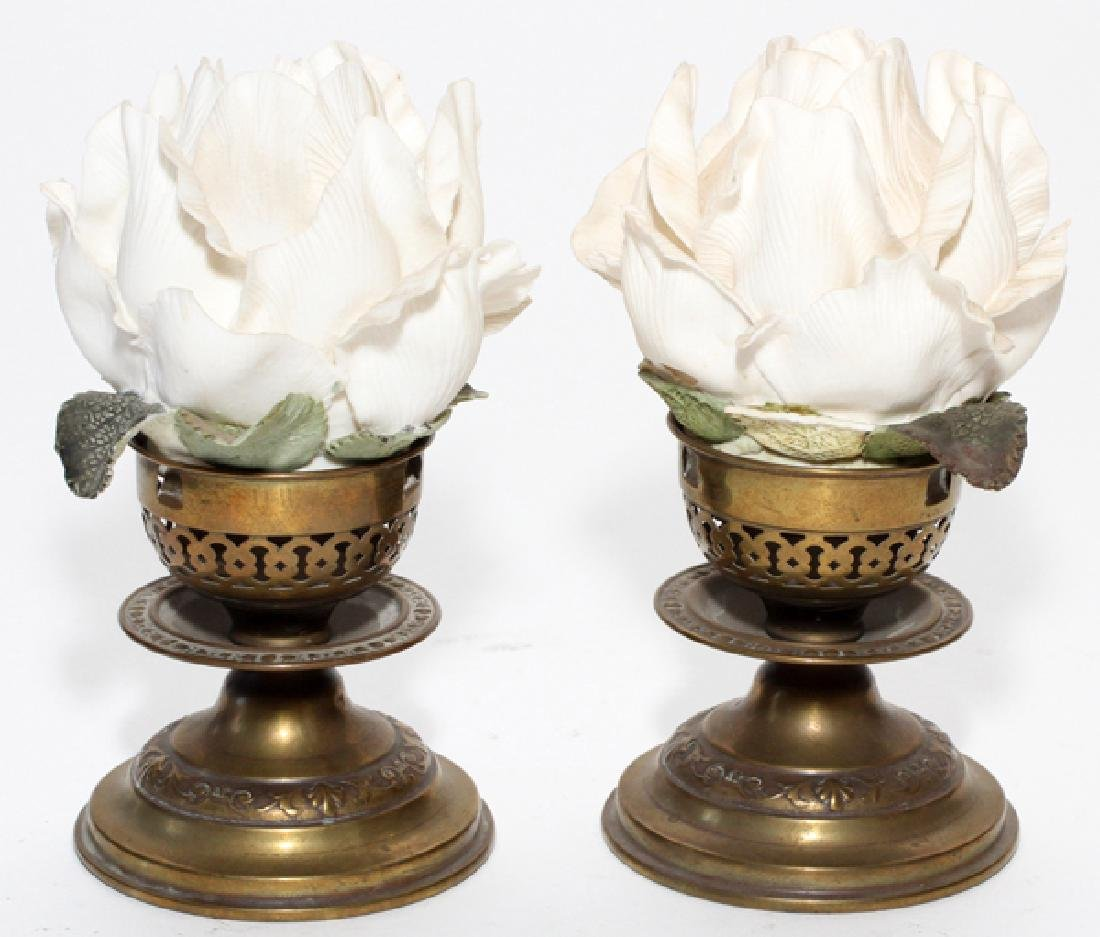VICTORIAN BISQUE ROSE FAIRY LAMPS LATE 19TH C. PAIR