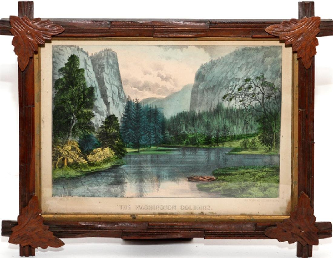 CURRIER & IVES LITHOGRAPH YOSEMITE VALLEY