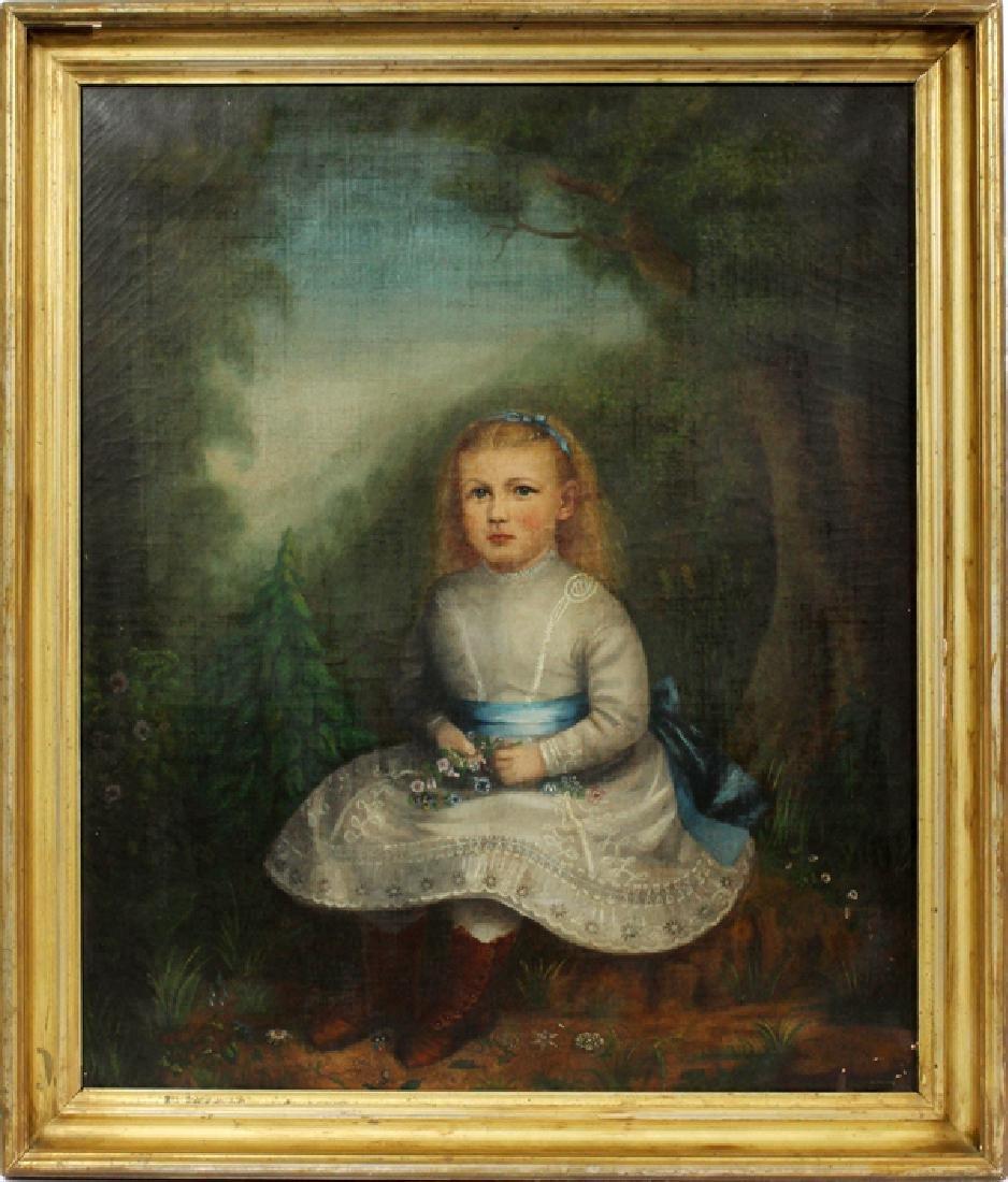 AMERICAN PRIMITIVE PORTRAIT ON CANVAS 19TH.C.