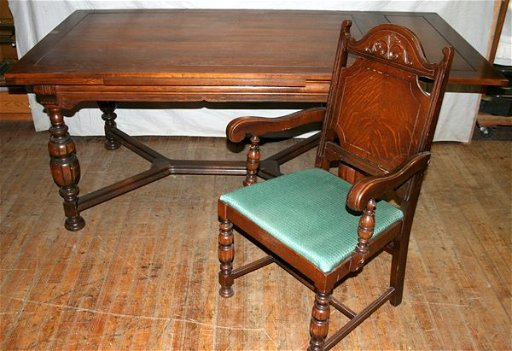 010035 Jacobean Style Oak Dining Room Set C 1940