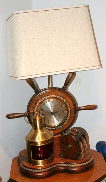 010115: NAUTICAL SHIP'S LAMP W/CARRINGTON CLOCK ETC.