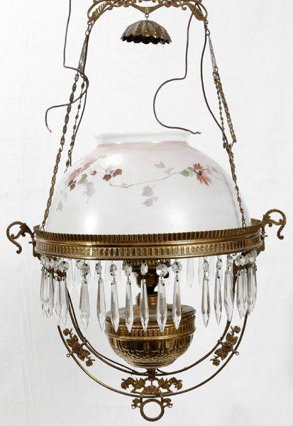 VICTORIAN OIL LAMP W/BRASS FRAME & GLASS SHADE