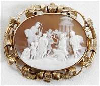 011014: 14K GOLD & SHELL CAMEO BROOCH, SIGNED 'LAMONT'