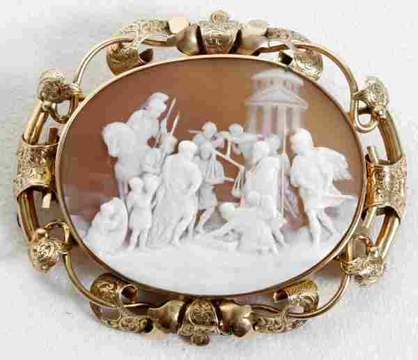 14K GOLD & SHELL CAMEO BROOCH, SIGNED 'LAMONT'